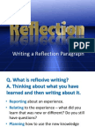 Writing a Reflection Paragraph