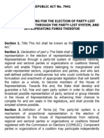 h. Ra 7941 Party-list System Act