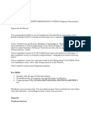 Engineering Job Application Cover Letter Sample