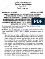 h. Ra 8524 an Act Changing the Term of Office of Barangay Officials and Members of the Sangguniang Kabataan