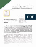 Carta al Alcalde de Mérida, Yucatán,  solicitanto la declaratoria del Cementerio como Patrimonio Cultural del Municipio