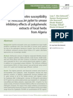 In vitro susceptibility   of Helicobacter pylori to urease inhibitory effects of polyphenolic extracts of local herbs  from Algeria