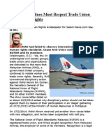 Malaysian Airlines Must Respect Trade Union and Worker Rights