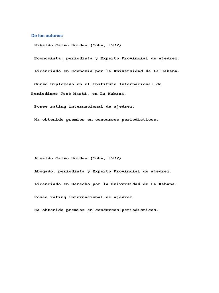 Reinaldo Vera Gran Maestro Del Ajedrez Cubano