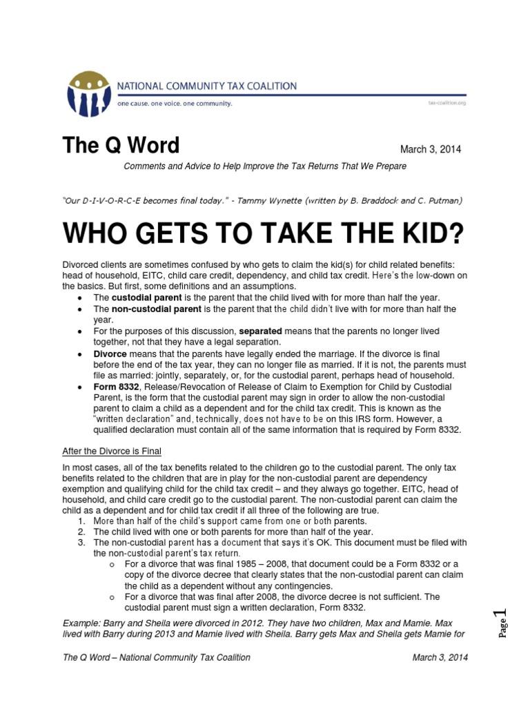 Q Word Divorce FINAL   Child Custody   Personal Exemption (United ...