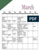 Calendar, March 2014