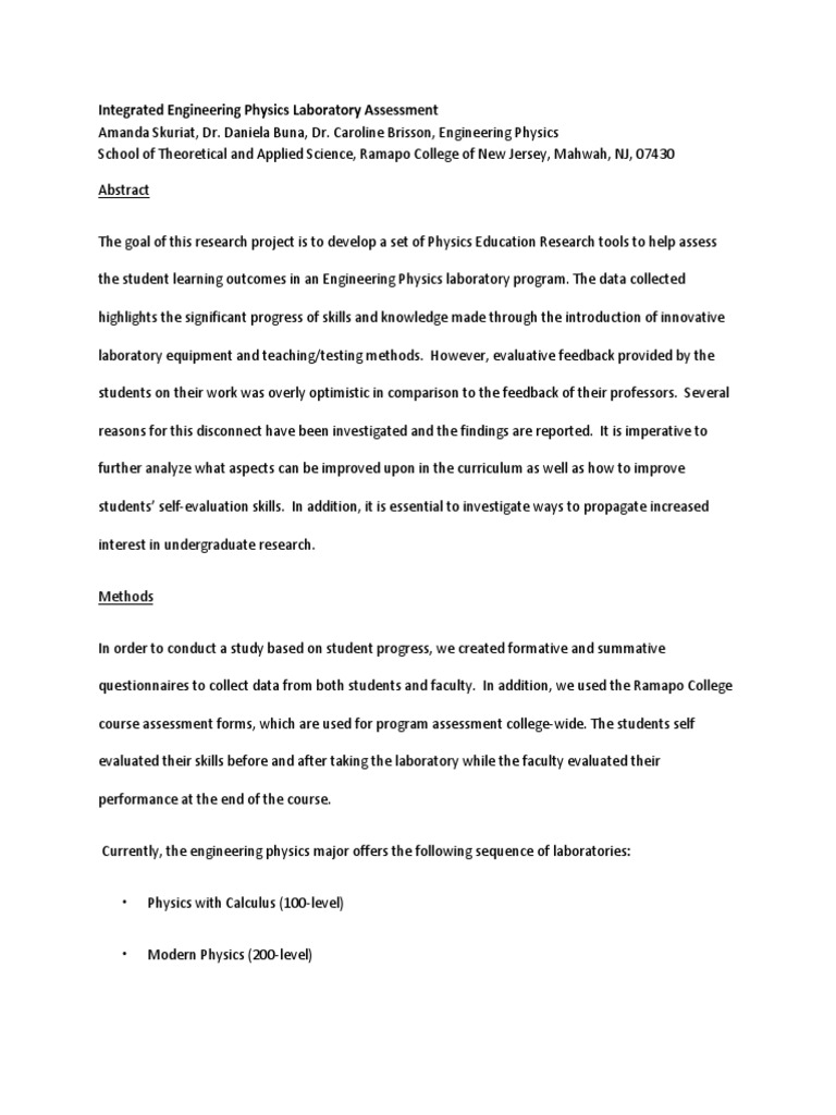 physics education research paper For physics education research: a theoretical framework for physics education research: for this paper, i will use the physics terminology.