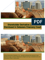 Shareholder Derivative Lawsuit Dismissed in Delaware Chancery Court