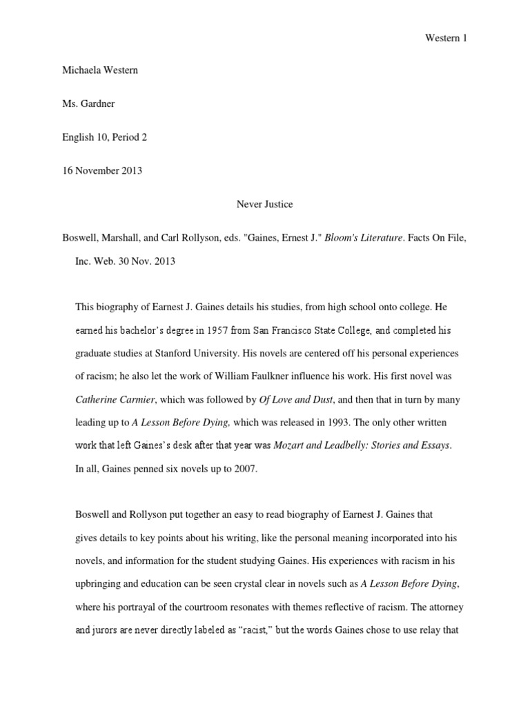 Racism in a lesson before dying essay literary analysis kansas stephen dobyns