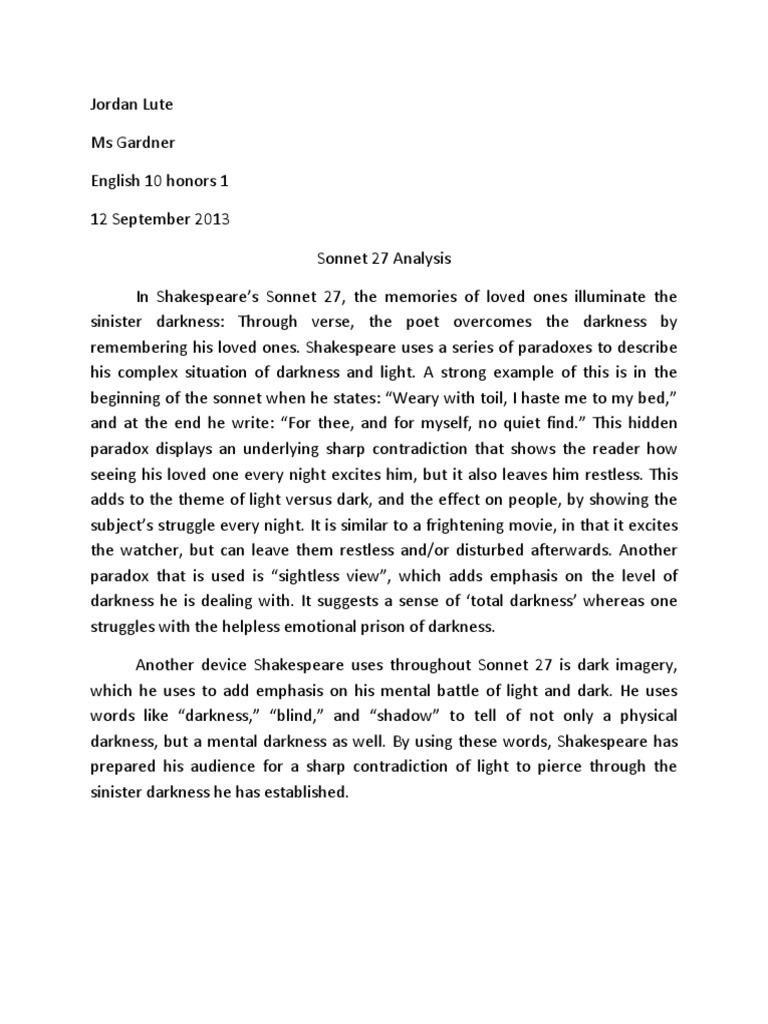 Sonnet 27 Analysis Shakespeare