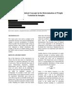 Inorganic Chemistry Experiment 1 (statistical method)