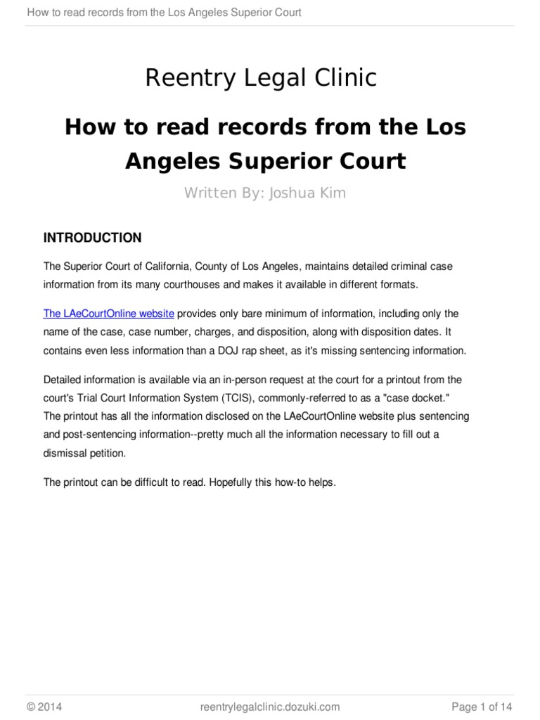 How to read records from the Los Angeles Superior Court | Probation