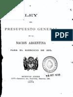 Ley del Presupuesto General de la Nación Argentina para el ejercicio de 1875