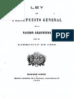 Ley del Presupuesto General de la Nación Arjentina para el ejercicio de 1869