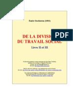 Durkheim (1892) de La Division Du Travail Social II