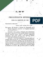 Ley Del Presupuesto General Para El Ejercicio de 1868