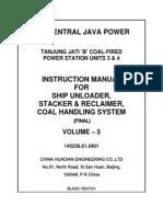 Volume 5 Instruction Manual for Ship Unloader Stacker&Reclaimer Coal Handling System Final