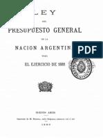 Ley del Presupuesto General de la Nación Argentina para el ejercicio de 1881
