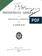 Ley del Presupuesto General de la República Argentina para el ejercicio de 1886