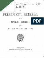 Ley del Presupuesto General de la República Argentina para el ejercicio de 1887