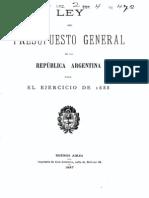 Ley del Presupuesto General de la República Argentina para el ejercicio de 1888