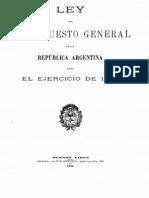 Ley del Presupuesto General de la República Argentina para el ejercicio de 1889