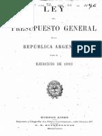 Ley del Presupuesto General de la República Argentina para el ejercicio de 1892