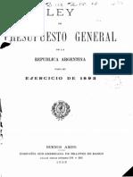 Ley del Presupuesto General de la República Argentina para el ejercicio de 1893