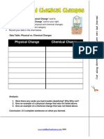Physical Chemical Change Activity