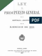 Ley del Presupuesto General de la República Argentina para el ejercicio de 1894