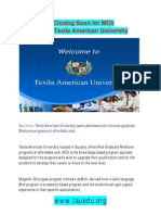 Admissions Closing Soon for MCh programs in Texila American University
