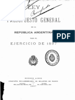 Ley del Presupuesto General de la República Argentina para el ejercicio de 1897