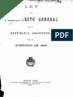 Ley del Presupuesto General de la República Argentina para el ejercicio de 1898