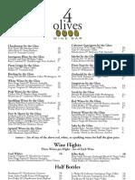 4 Olives - Wine Glass Menu - 10/09