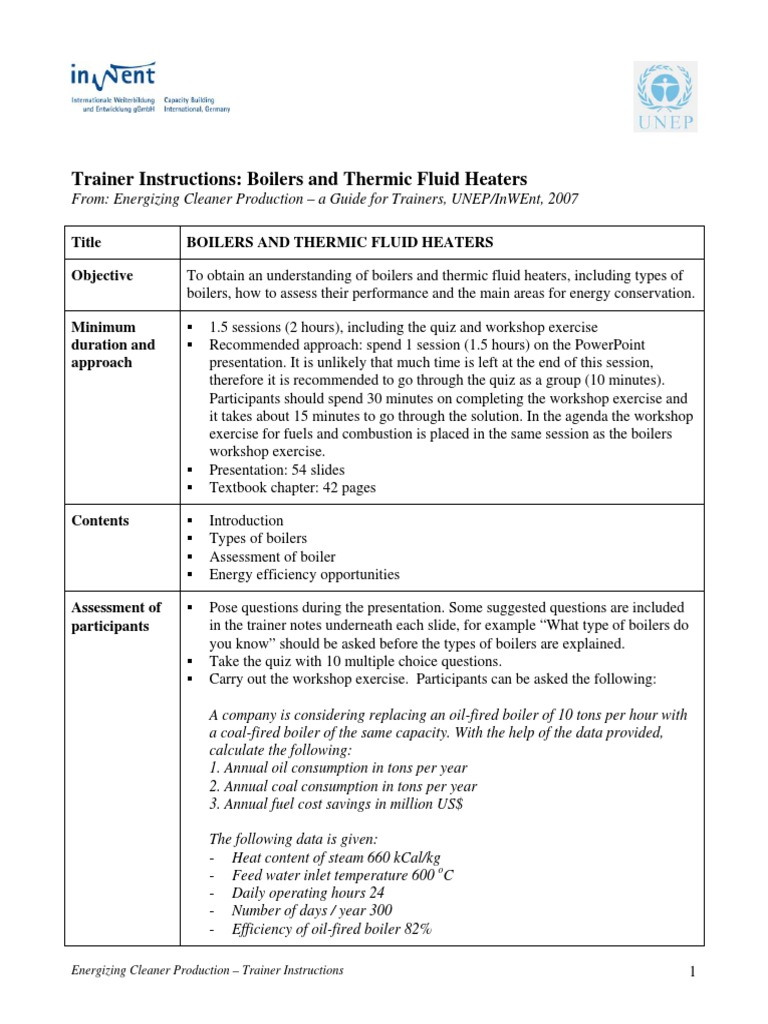 Trainer Instructions - Boilers and Thermic Fluid Heaters | Boiler ...