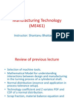 Manufacturing Technology (ME461) Lecture9