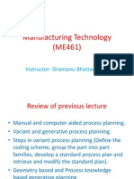 Manufacturing Technology (ME461) Lecture12