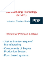 Manufacturing Technology (ME461) Lecture28