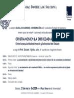 Invitación CRISTIANOS EN LA SOCIEDAD ACTUAL