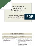 Objetivos de aprendizajes 5º lenguaje 1º y 2º semestre