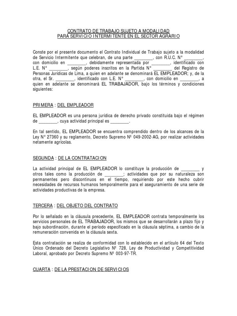 Ejemplo De Contrato Laboral Agrario