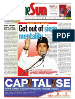thesun 2009-10-15 page01 get out of siege mentality