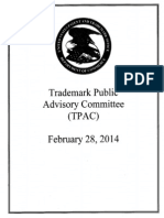 Handouts from the USPTO Trademark Public Advisory Committee meeting on February 28, 2014