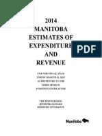 2014 Manitoba estimates of revenue and expenditure