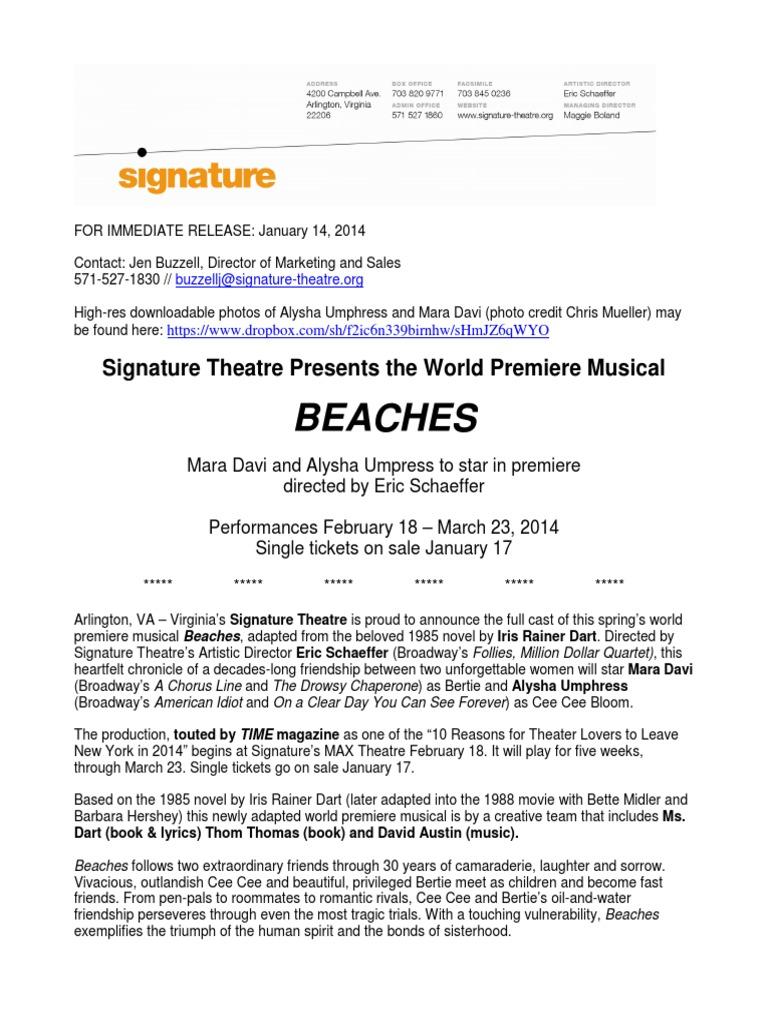 Alysha Umphress Wiki beaches press release jan 2014 | teatro musical | teatro