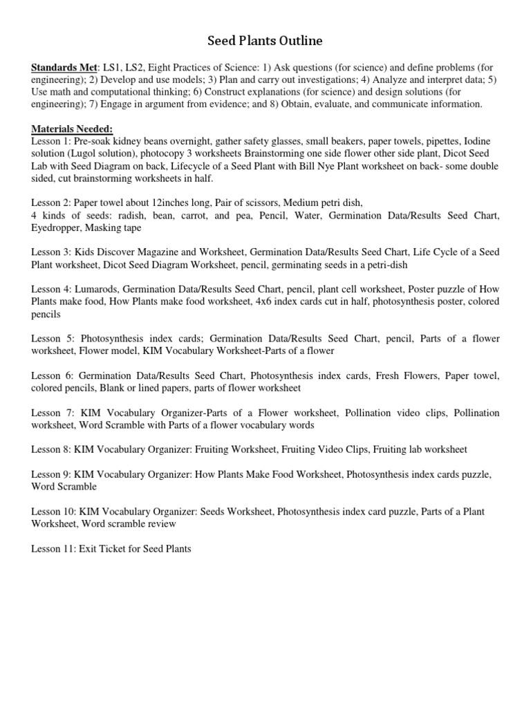 Worksheets Bill Nye Plants Worksheet seed plant unit outline flowers pollen