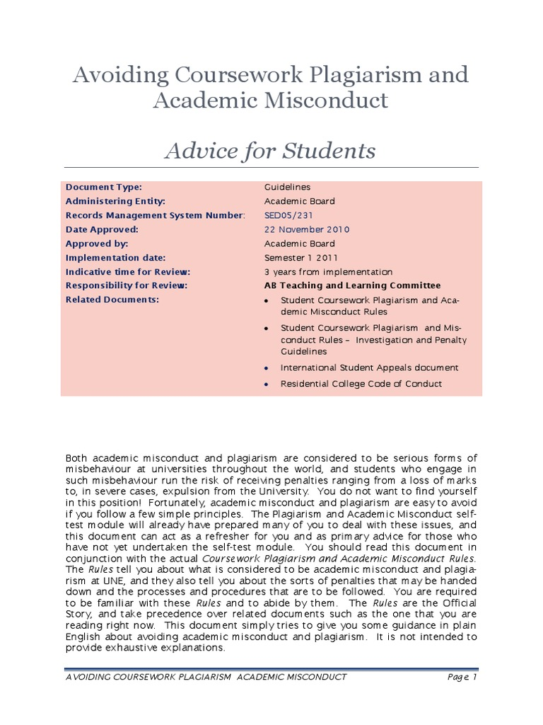 Student coursework plagiarism and academic misconduct rules write a life story template