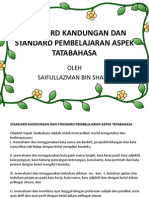 Standard Kandungan Dan Standard Pembelajaran Aspek Tatabahas
