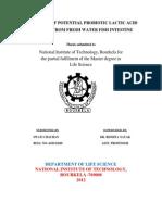 Screening of Potential Probiotic Lactic Acid