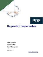 Note pacte de responsabilité, un pacte irresponsable